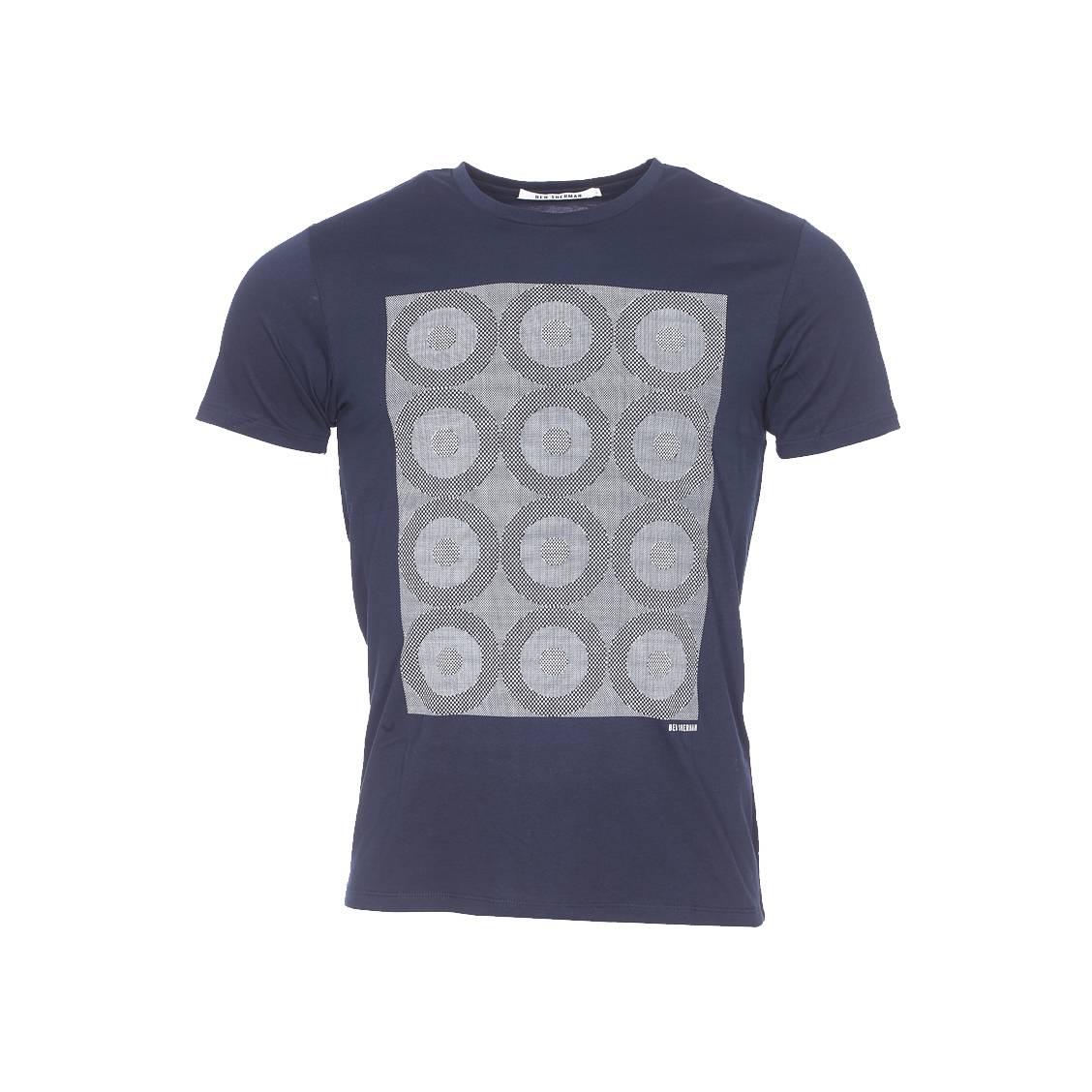 Tee-shirt col rond  en coton bleu marine et flocage à motifs géométiques
