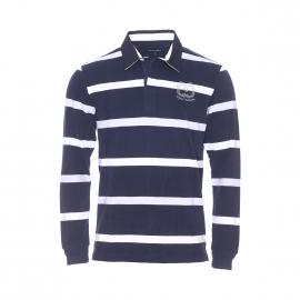 Polo manches longues Grandville Bermudes bleu marine à rayures gris chiné et blanches