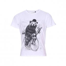 Tee-shirt col rond Best Mountain blanc à imprimé ours noir