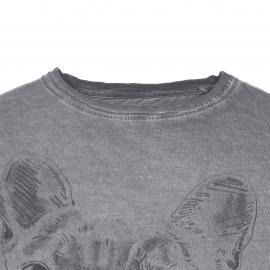 Tee-shirt col rond Best Mountain en coton gris anthracite effet délavé à imprimé