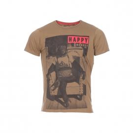 Tee-shirt col rond Best Mountain kaki en coton imprimé