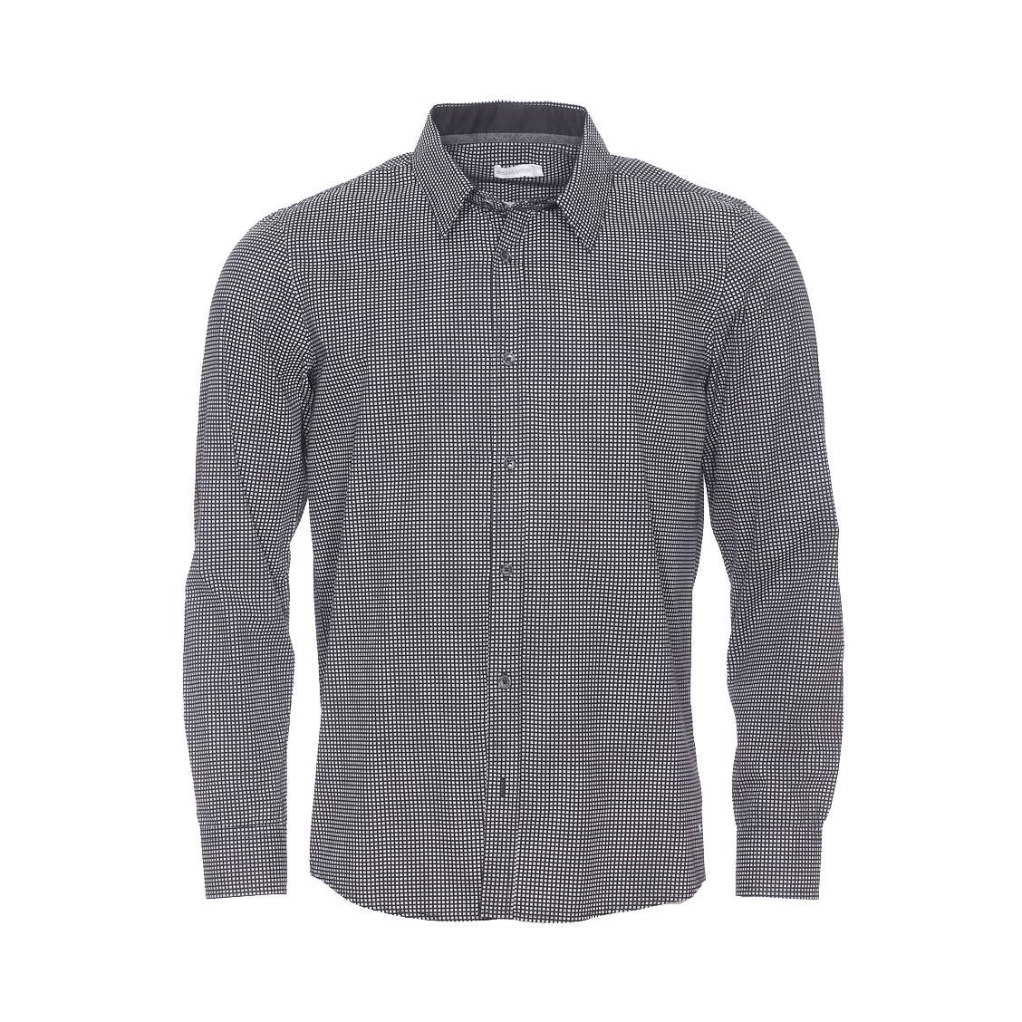 Chemise droite  en coton noir à petits carreaux blancs