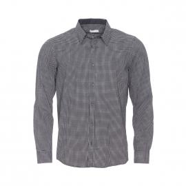 Chemise droite Best Mountain en coton noir à petits carreaux blancs