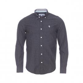 Chemise droite Camberabero en coton noir à imprimé blanc