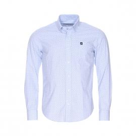 Chemise droite Camberabero en chambray bleu ciel à motifs bleu marine
