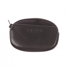 Porte-monnaie ovale Chabrand en toile et cuir noir