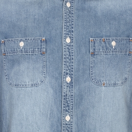 Chemise droite Chevignon en jean, col en velours côtelé marron clair