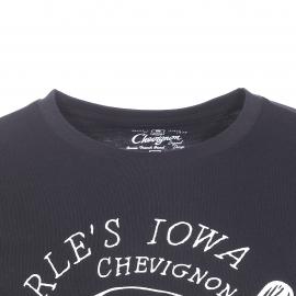 Tee-shirt col rond Chevignon en coton noir à imprimé brodé