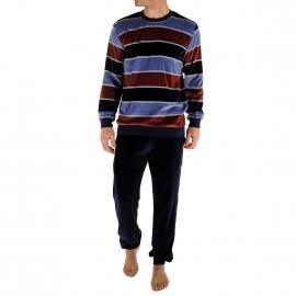 Pyjama forme jogging Renaud Christian Cane en velours : sweat col rond à rayures marron, bleu marine, bleu ciel, blanches et pantalon bleu marine