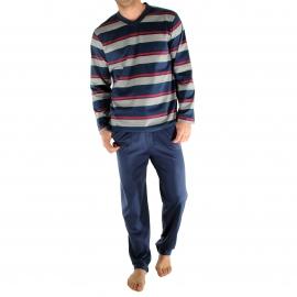 Pyjama long Ralph Christian Cane en coton : tee-shirt manches longues col V bleu encre à rayures blanches, rouges et mauve, pantalon bleu encre