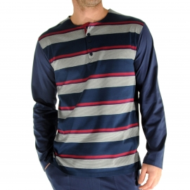 Pyjama Ralph Christian Cane en coton : tee-shirt manches longues a col tunisien a rayures blanches, bleu marine, rouges et mauves, pantalon bleu marine