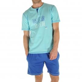 Pyjama court Christian Cane Mega Piscine : Tee-shirt à petit col tunisien bleu ciel floqué