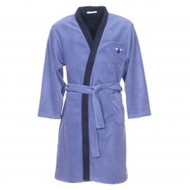 Kimono Ronsard Christian Cane bleu gris à col bleu marine