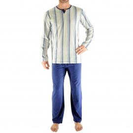 Pyjama long Galibier Christian Cane en coton : tee-shirt à petit col V gris clair à rayures bleu clair et bleu marine, pantalon bleu marine