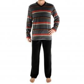 Pyjama long Gao Christian Cane en velours : tee-shirt col V à rayures grises, rouges, blanches et noires et pantalon noir