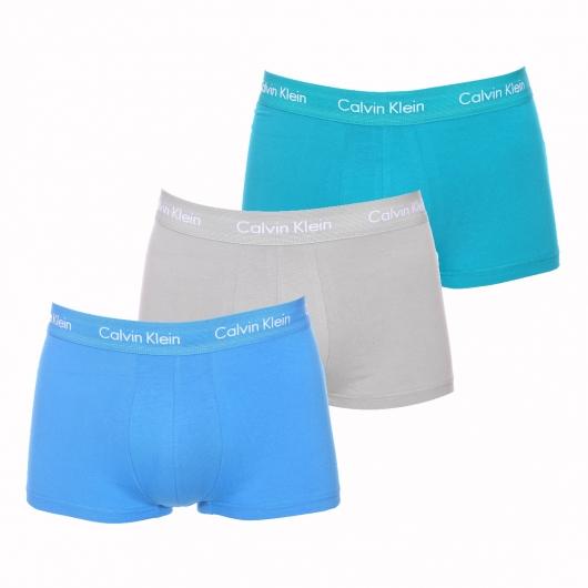 lot de 3 boxers calvin klein en coton stretch gris bleu canard et bleu azur rue des hommes. Black Bedroom Furniture Sets. Home Design Ideas