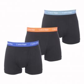 Lot de 3 boxers longs Calvin Klein en coton stretch noir à ceinture orange, bleu grisé et bleu électrique
