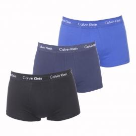 Lot de 3 shortys Calvin Klein en coton stretch bleu marine, noir et bleu roi