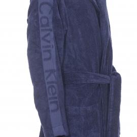 Peignoir de bain à capuche Calvin Klein bleu marine brodé sur les manches