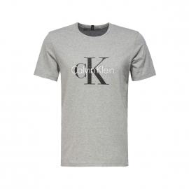 Tee-shirt col rond Calvin Klein en coton gris floqué CK