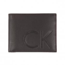 Portefeuille italien Finn Calvin Klein Jeans en cuir noir incrusté CK à porte-cartes amovible