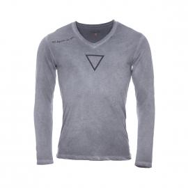 Tee-shirt manches longues Deepend gris effet délavé à col V