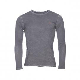 Tee-shirt manches longues Deepend en coton gris anthracite effet vintage à col rond