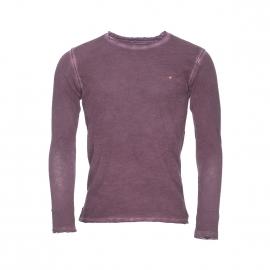 Tee-shirt manches longues Deepend en coton bordeaux effet vintage à col rond