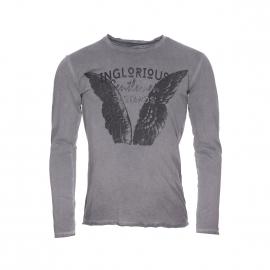 Tee-shirt manches longues Deepend gris à imprimé avec des ailes