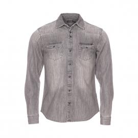 Chemise ajustée Deepend en jean gris, effet usé