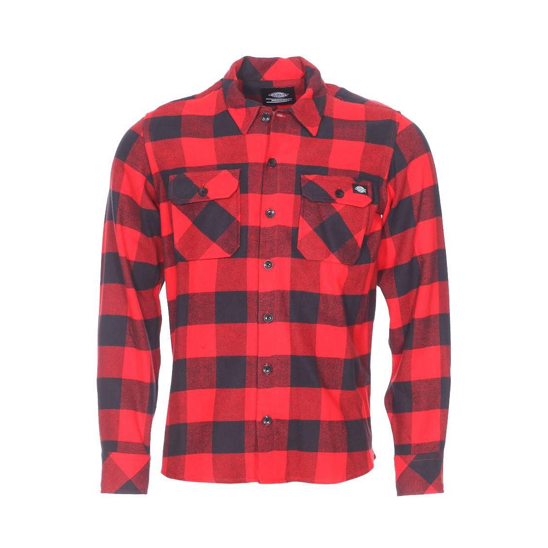 Chemise droite sacramento  en coton à carreaux rouges et noirs