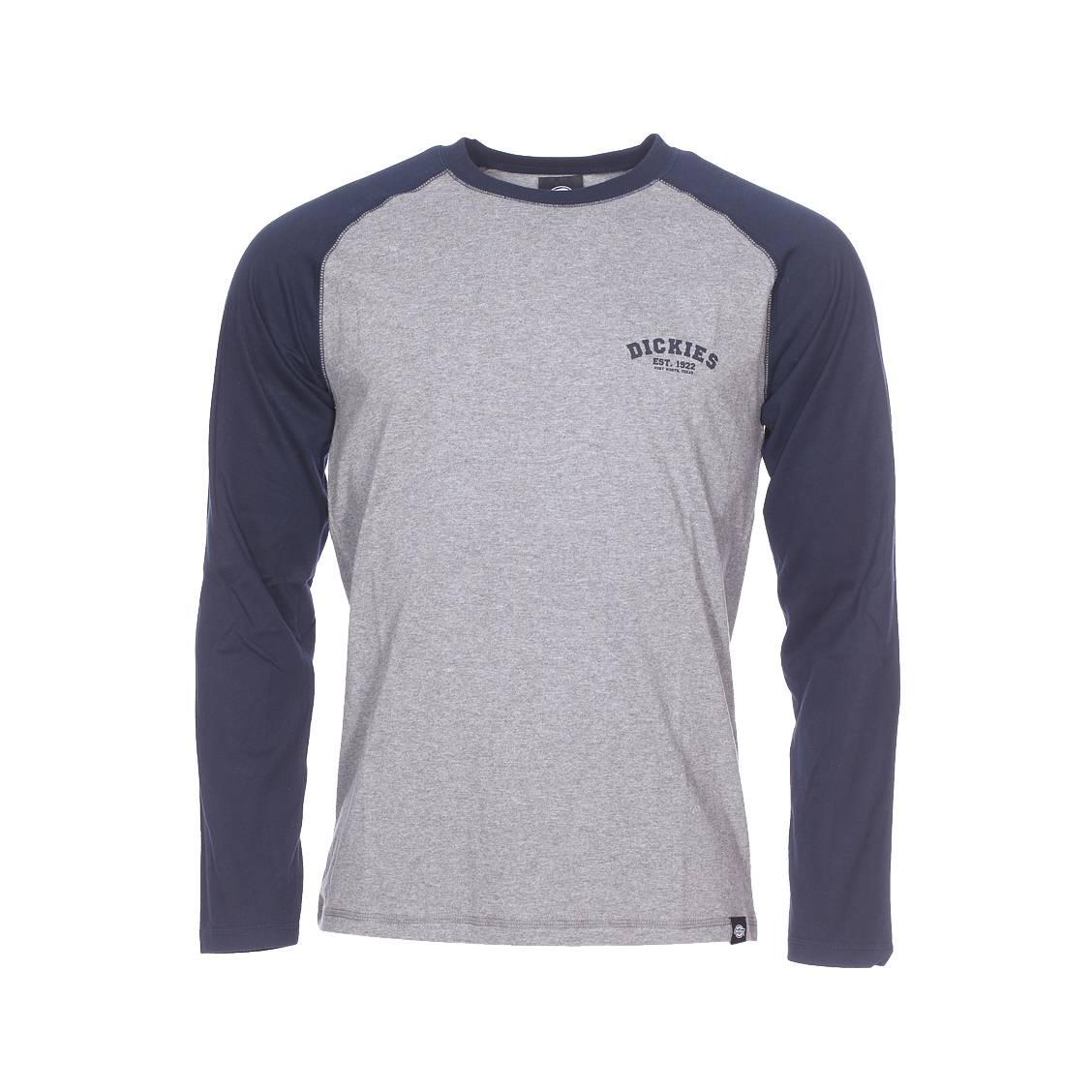 tee shirt manches longues dickies en coton gris chin et bleu marine rue des hommes. Black Bedroom Furniture Sets. Home Design Ideas