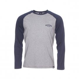 Tee-shirt manches longues Dickies en coton gris chiné et bleu marine