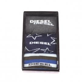 Coffret de 3 paires de chaussettes Diesel : bleu marine à étoiles, à rayures crème, kaki et bleues et grises à bordures bleu, kaki et bleu ciel