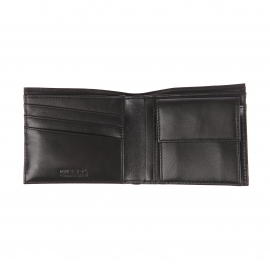 Portefeuille italien à 2 volets Hiresh S Diesel en cuir grainé noir et blanc