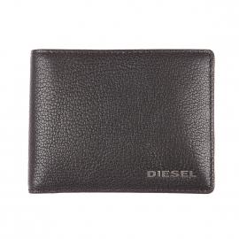 Porte-cartes Neela XS Diesel en cuir de chèvre noir grainé