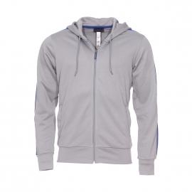 Sweat à capuche zippé Diesel gris à bandes bleu électrique