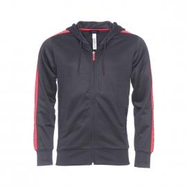 Sweat à capuche zippé Diesel noir à bandes rouges