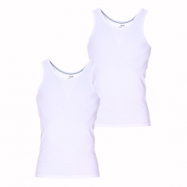 Lot de 2 débardeurs Dim Dry and Cool en coton stretch respirant blanc