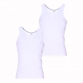 Lot de 2 débardeurs Dim Dry and Cool en coton stretch respirant blanc