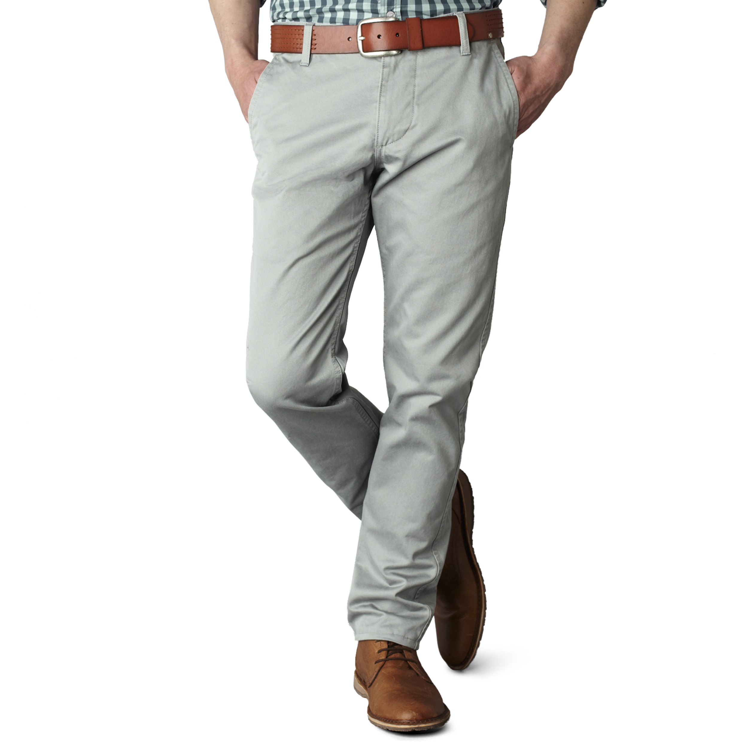 Pantalon alpha khaki original slim tapered  en twill gris clair