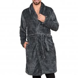 Robe de chambre Dodo en polaire gris chiné
