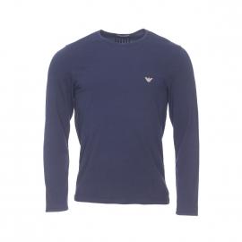 Tee-shirt manches longues Emporio Armani en coton stretch bleu marine, logo Eagle bronze au dos