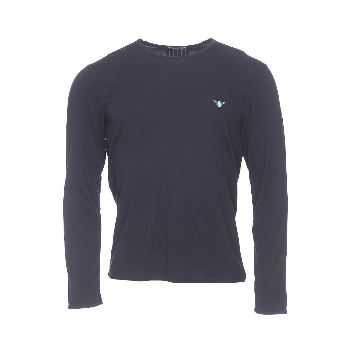 Tee-shirt manches longues  en coton stretch noir, logo eagle turquoise au dos