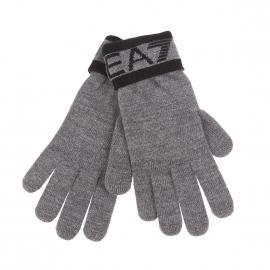 Gants EA7 gris chiné à inscriptions noires