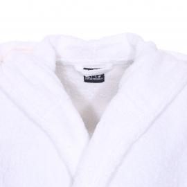 Peignoir de bain à capuche EA7 blanc brodé sur la manche