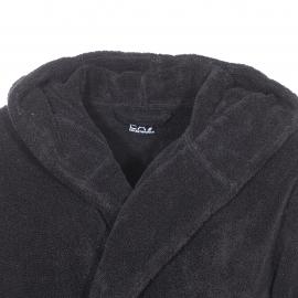 Peignoir de bain à capuche EA7 noir brodé sur la manche
