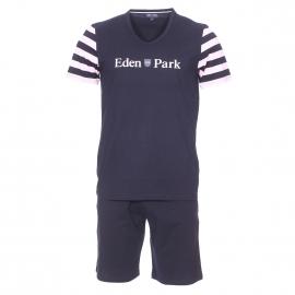 Pyjama court Eden Park en coton : tee-shirt manches courtes vol v bleu marine à rayures rose pâle et bermuda bleu marine