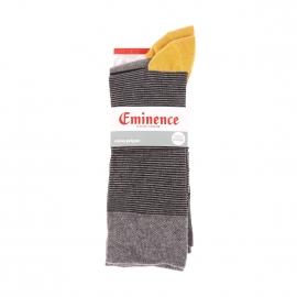 Lot de 2 paires de chaussettes Eminence en coton peigné stretch : 1 paire grise à rayures noires, 1 paire à fines rayures noires et grises