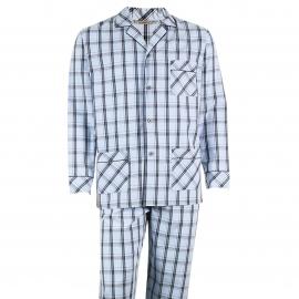 Pyjama long Eminence en popeline de coton : veste boutonnée et pantalon bleu ciel à carreaux noirs et rose pâle